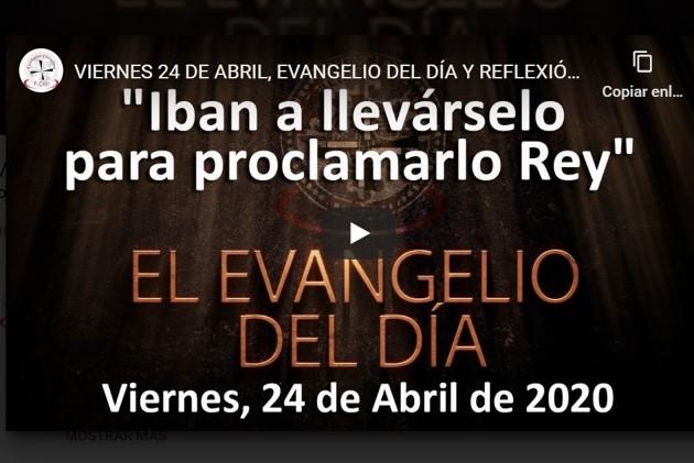 VIERNES 24 DE ABRIL, EVANGELIO Y REFLEXIÓN «IBAN A LLEVÁRSELO PARA PROCLAMARLO REY»